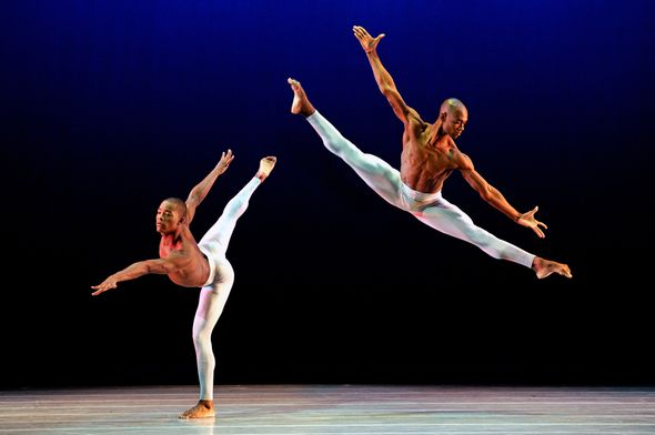 Ailey II's David Adrian Freeland Jr. and Gentry Isaiah George in Alvin Ailey's Streams. Photo by Eduardo Patino