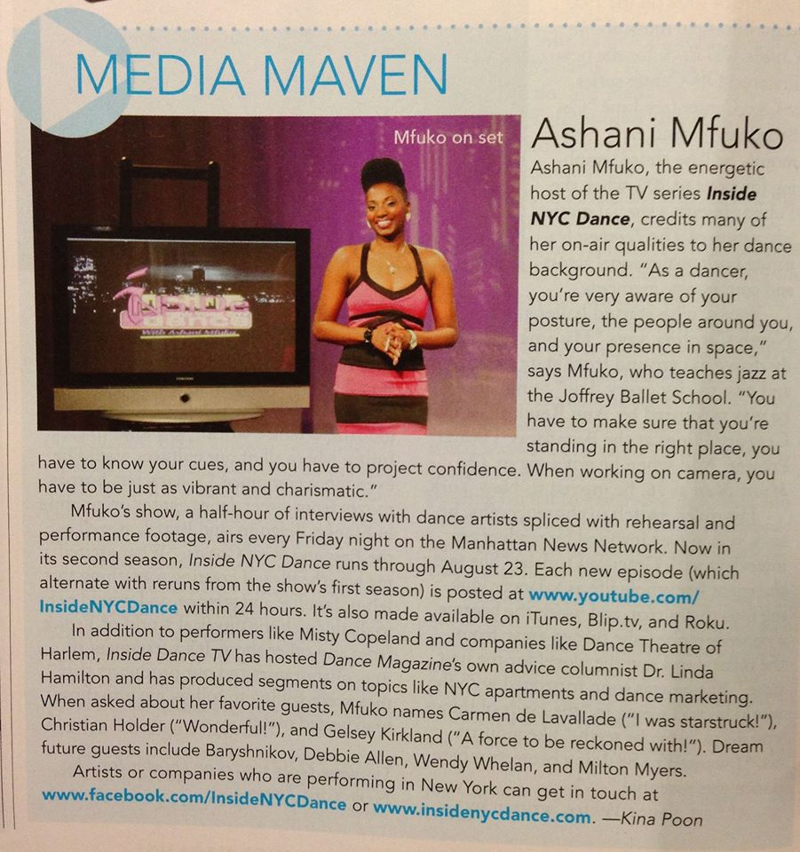 "Check out the Host of ""Inside NYC Dance"" in Dance Magazine!"